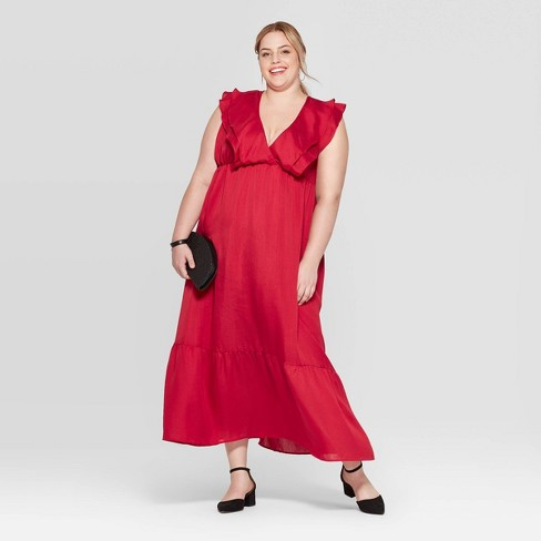 Women\'s Plus Size Sleeveless V-Neck Maxi Dress - A New Day™ Red