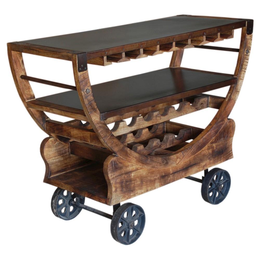 Medium Mango Bar Trolley - Brown/Bronze - Christopher Knight Home