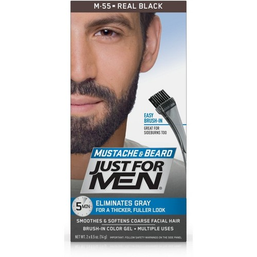 Just For Men Mustache and Beard Men's Hair Color, Real Black M-55