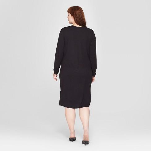 a0c0bec82be Women s Plus Size Long Sleeve Knit Midi Dress -...   Target