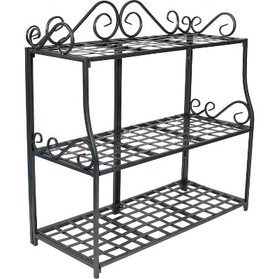 """Sunnydaze Indoor/Outdoor Iron Metal 3-Tiered Potted Flower Plant Stand with Scrolled Back Design - 30"""" - Black"""