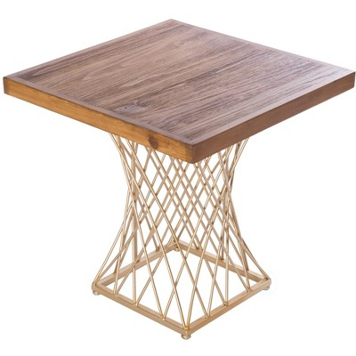 Bold Tones Modern Square Wood and Gold Metal Side Table