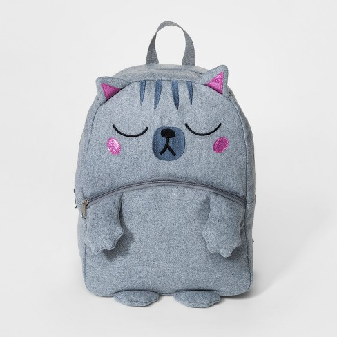 Girls' Cat Backpack - Cat & Jack™ Gray - image 1 of 2