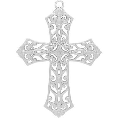 Cross Christmas Tree Ornament Silver - Harvey Lewis