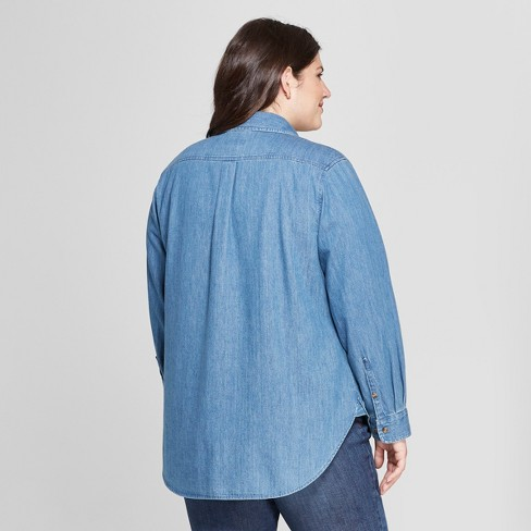 8f4734ffd57 Women s Plus Size Textured Denim No Gap Button-Down Long Sleeve Shirt - Ava    Viv™ Medium Wash   Target