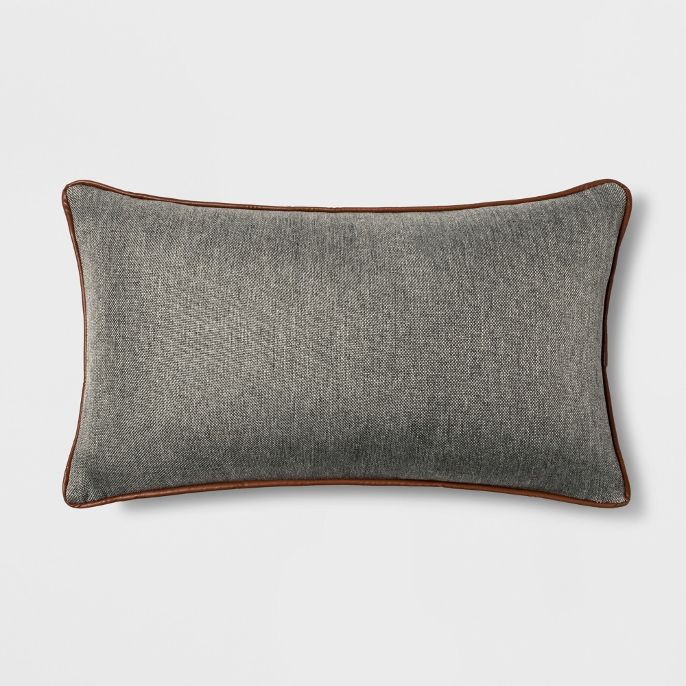 Faux Leather Piping Lumbar Throw Pillow Gray - Threshold