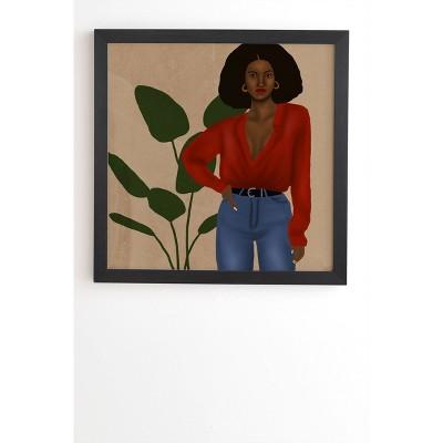 """30"""" x 30"""" Nawaalillustrations Girl in Red Framed Wall Art Black - Deny Designs"""