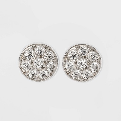 Button Earrings Sterling Cubic Zirconia Disc - Silver/Clear