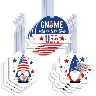 Big Dot of Happiness Patriotic Gnomes - Assorted Hanging Memorial Day, 4th of July and Labor Day Gnome Party Favor Tags - Gift Tag Toppers - Set of 12