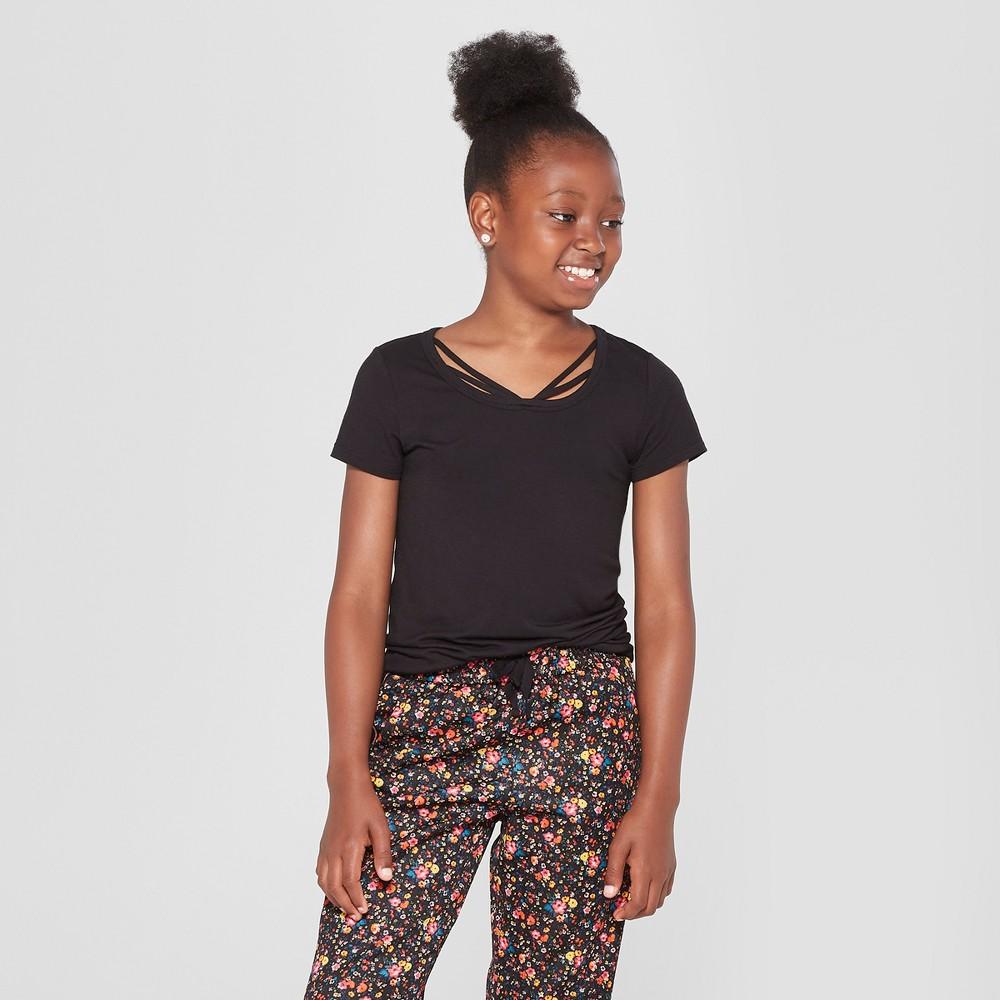 Girls' Bar Front Short Sleeve T-Shirt - art class Black S