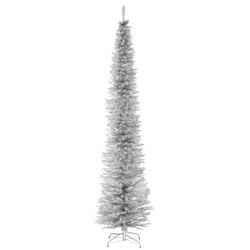 National Tree Company 9ft Silver Tinsel Slim Artificial Tree