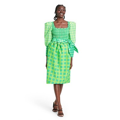 Plaid Long Sleeve Smocked Tie Waist Dress - Christopher John Rogers for Target Green
