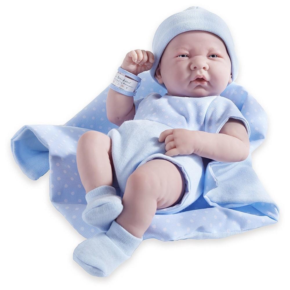 JC Toys La Newborn 14 All-Vinyl Baby Doll in Blue Romper - 5pc Set Real Boy!
