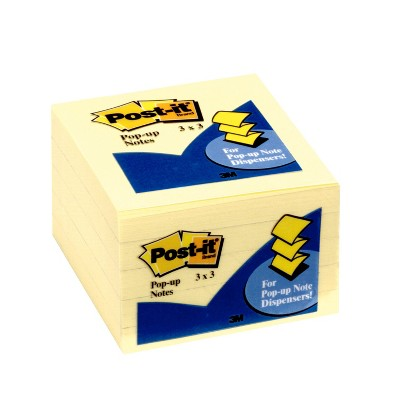 """Post-it 5pk 3"""" x 3"""" Pop-up Notes 100 Sheets/Pad - Canary Yellow"""