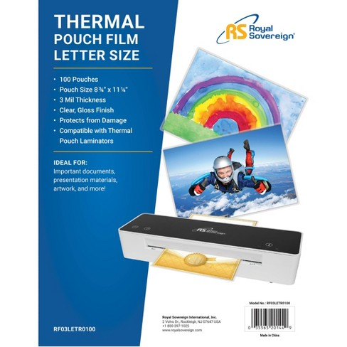 Royal Sovereign 100ct Letter Size 3 Mil Thermal Pouch Laminating Film - image 1 of 2