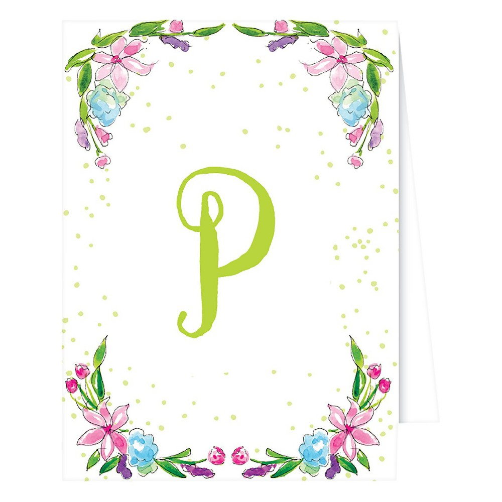 RosanneBECK Collections White Note Cards - Floral Crest Monogram - P