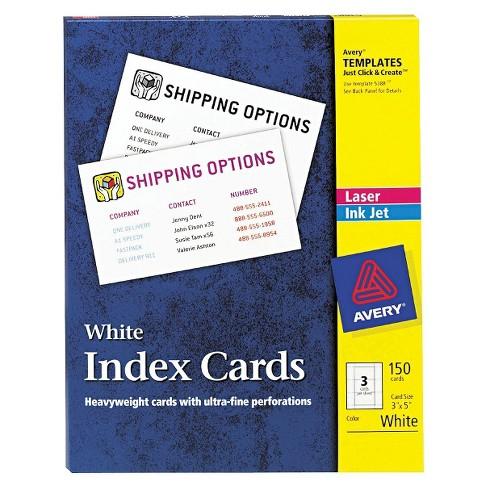 avery laserinkjet printers index cards white 150 per box - 3x5 Index Card Printer