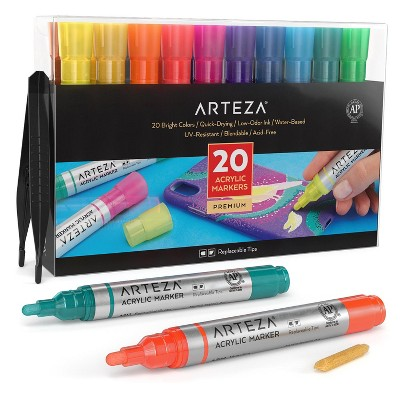 Arteza Premium Acrylic Marker Art Supply Set, Classic Hues and Metallic Colors with Replaceable Tips - 20 Colors