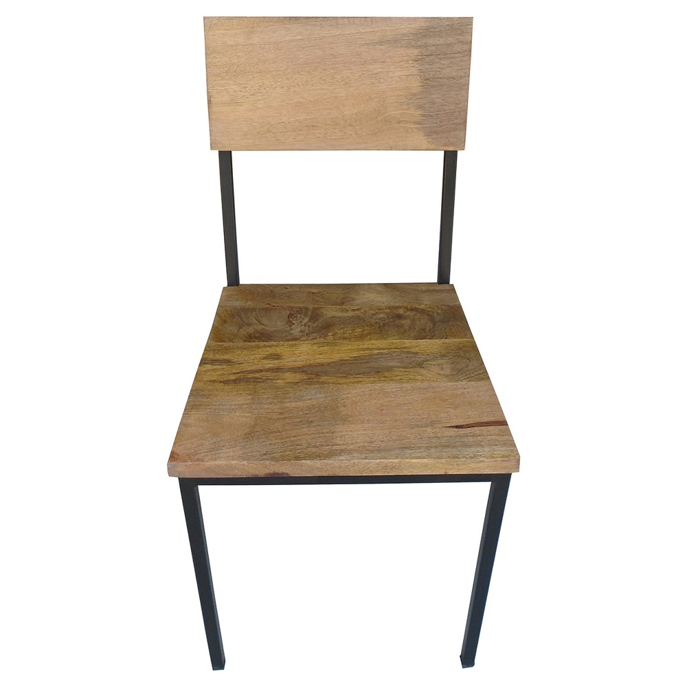 Reclaimed Mango Wood and Metal Chair (Set of 2) - Timbergirl, Brown