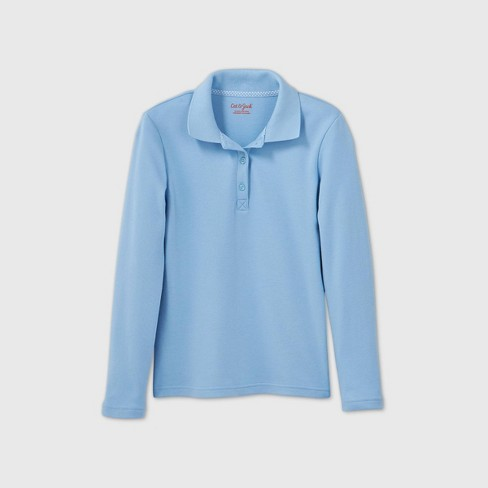 Girls' Long Sleeve Interlock Uniform Polo Shirt - Cat & Jack™ Light Blue XXL
