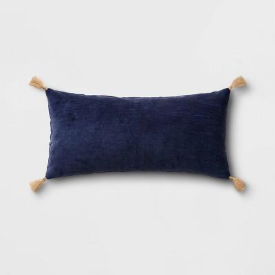 Oversized Velvet Lumbar Throw Pillow with Tassels Navy - Threshold™