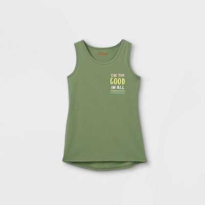 Girls' 'See The Good In All' Graphic Tank Top - Cat & Jack™ Army Green