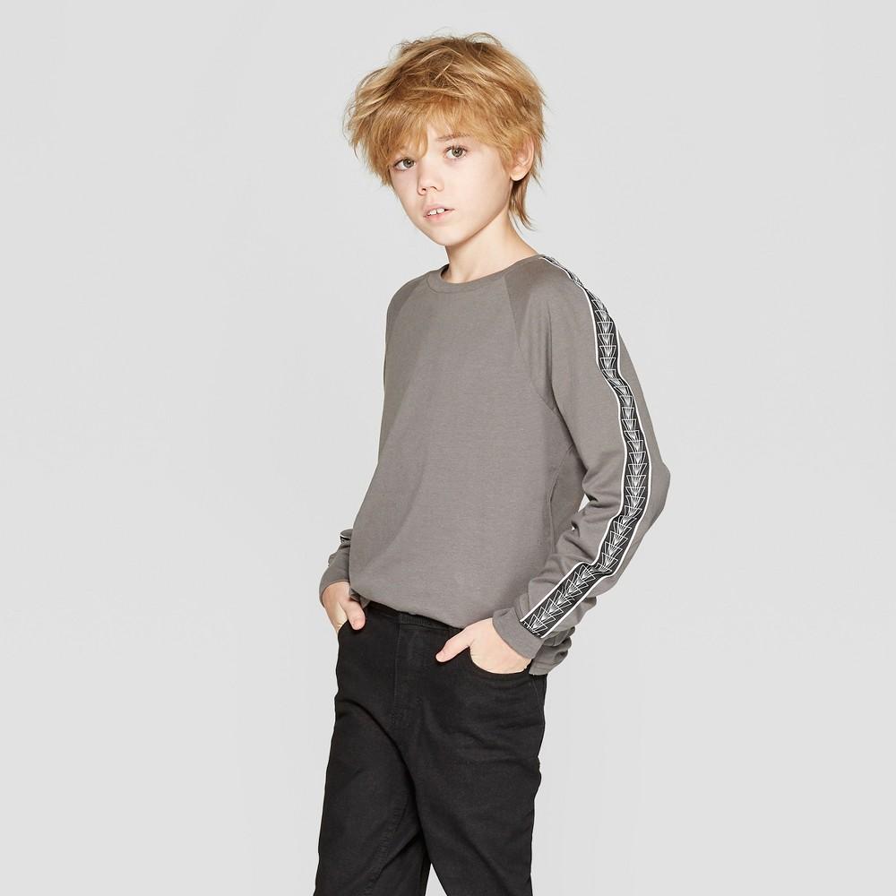 Boys' Long Sleeve Raglan Split Hem T-Shirt - art class Gray M