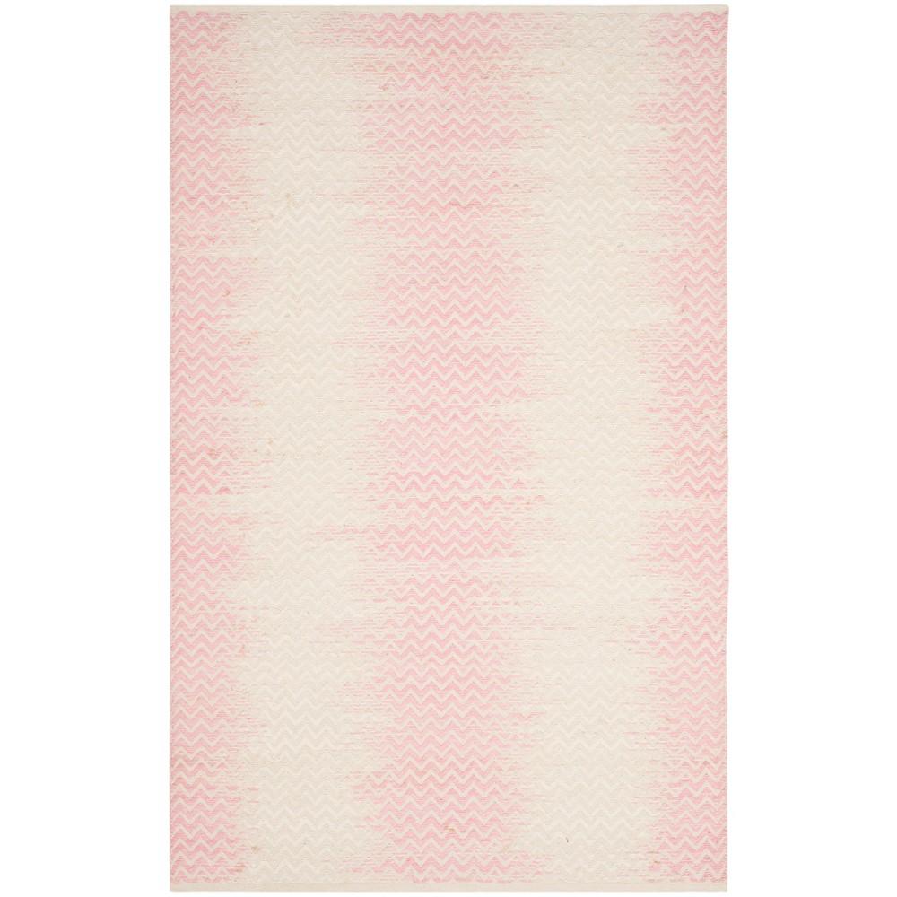 4 X6 Chevron Woven Area Rug Light Pink Ivory Safavieh