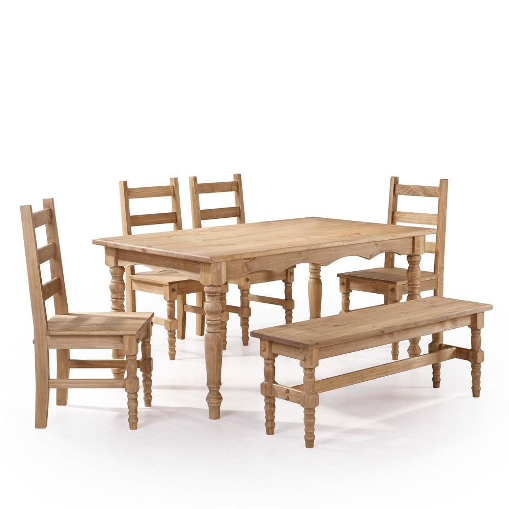 6pc Jay Solid Wood Dining Set Natural - Manhattan Comfort