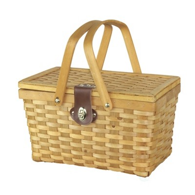 Vintiquewise Gingham Lined Woodchip Picnic Basket With Lid and Movable Handles