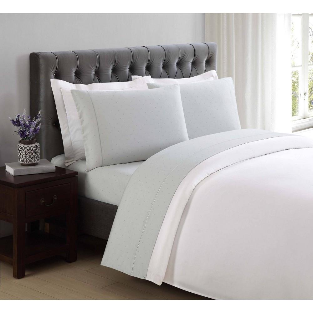 Image of California King 310 Thread Count Classic Dot Printed Cotton Sheet Set Dawn Blue - Charisma
