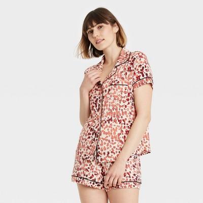 Women's Animal Print Beautifully Soft Short Sleeve Notch Collar Top and Shorts Pajama Set - Stars Above™ Beige