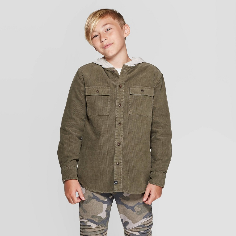Image of Boys' Corduroy Hoodie Button-Down Shirt - art class Green L, Boy's, Size: Large