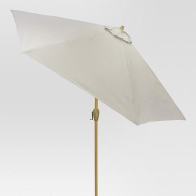 9' Round Sling Patio Umbrella Dove Gray - Light Wood Pole - Threshold™