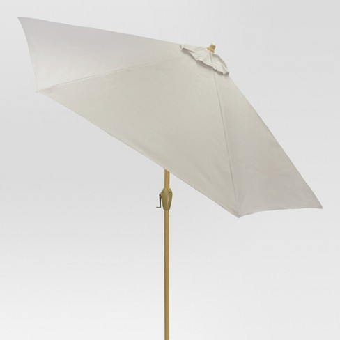 9' Round Sling Patio Umbrella Dove Gray - Light Wood Pole - Threshold™ - image 1 of 3