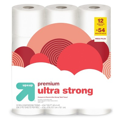 Premium Ultra Strong Toilet Paper - 12 Mega Plus Rolls - (Compare to Charmin Ultra Strong Bath Tissue)- Up&Up™