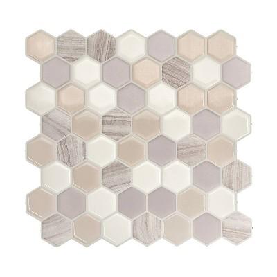 "Smart Tiles 3D Peel and Stick Backsplash 4 Sheets of 9.76"" x 9.35"" Kitchen and Bathroom Wallpaper Hexagon Greige"