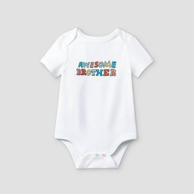 Baby Boys' 'Awesome Brother' Short Sleeve Bodysuit - Cat & Jack™ White 0-3M