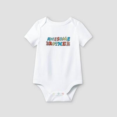 Baby Boys' 'Awesome Brother' Short Sleeve Bodysuit - Cat & Jack™ White