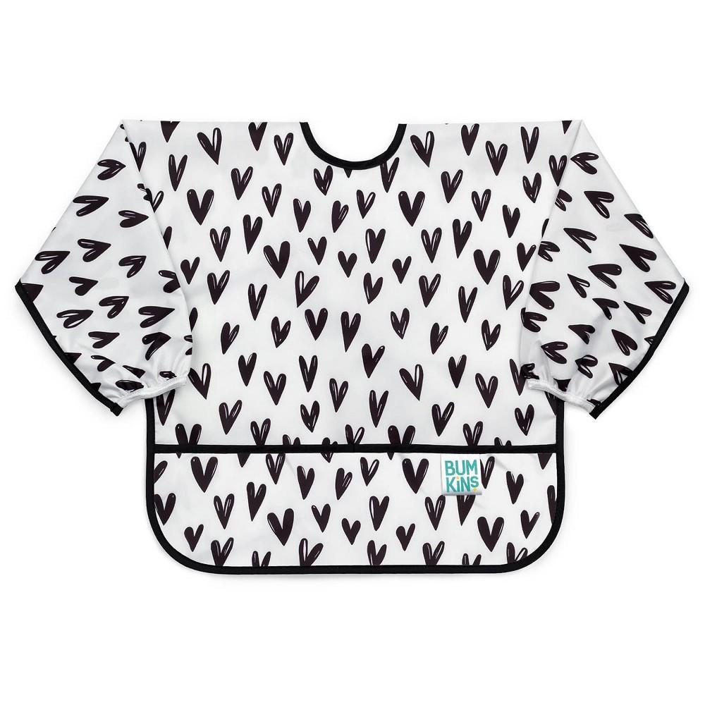 Image of Bumkins Heart Pattern Bib - White