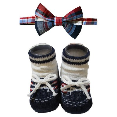Baby Boys' So'Dorable Plaid Bow Tie and Knit Booties Set Blue/Red/White 0-12M