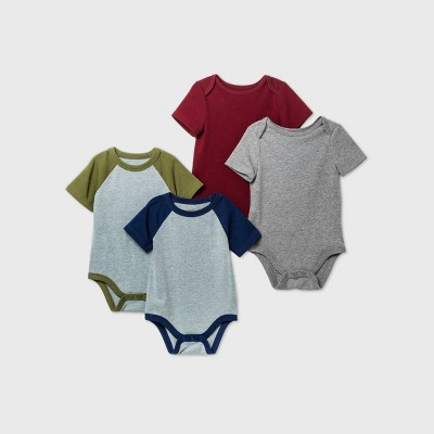 Baby Boys' 4pk Short Sleeve Bodysuit - Cat & Jack™ Gray 12M