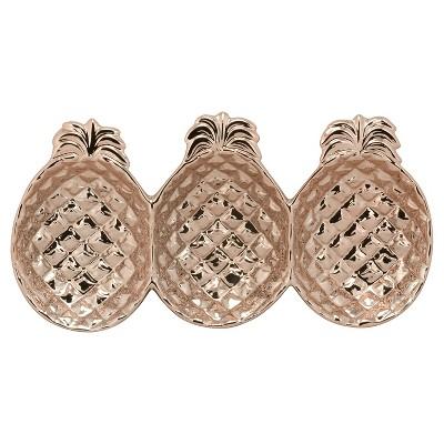 10 Strawberry Street® Ceramic Pineapple Divided Serving Platter - Rose Gold