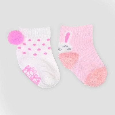 Baby Girls' 2pk Easter Crew Socks - Just One You® made by carter's Pink/White 0-6M