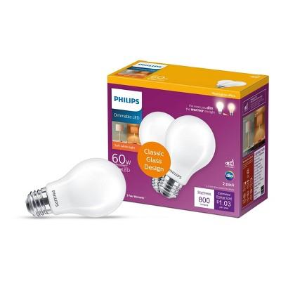Philips Premium A19 60W E26 2700-2200K LED Light Bub Warm Glow T20