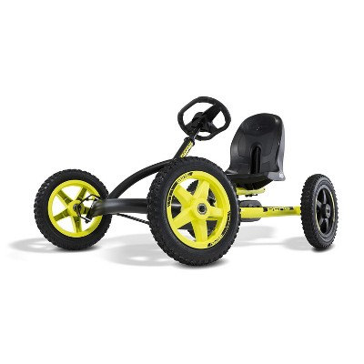 BERG Buddy Cross Kids Pedal Go Kart Ride On Toy with Bucket Seat and Steering Wheel, Black & Yellow