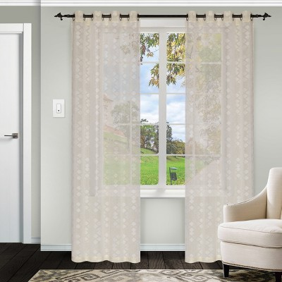 Geometric Diamond Sheer Grommet Curtain Panel Set by Blue Nile Mills