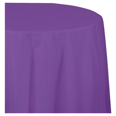 Amethyst Purple Round Plastic Tablecloth