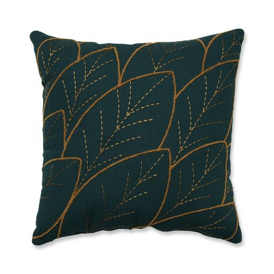 Abstract Leaf Square Throw Pillow Teal - Pillow Perfect
