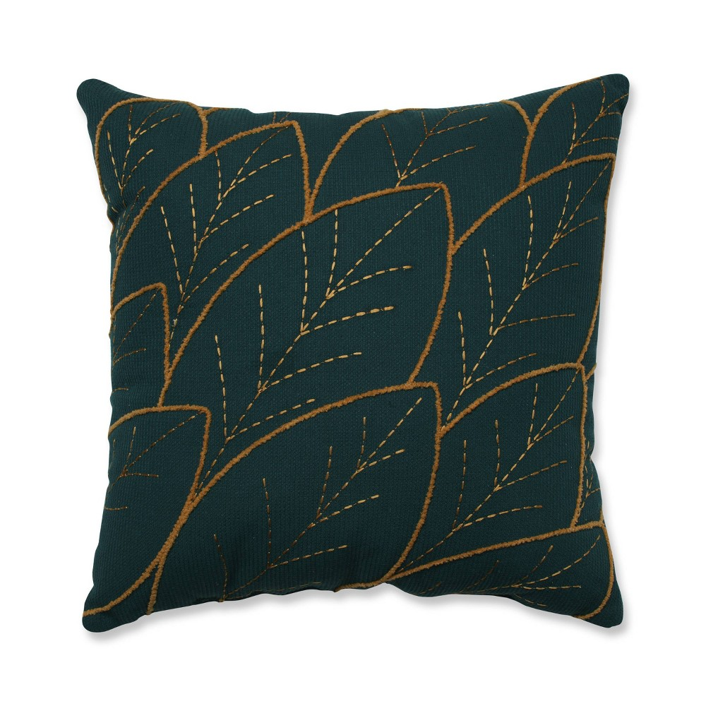 Abstract Leaf Square Throw Pillow Teal Pillow Perfect